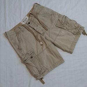 Abercrombie & Fitch Distressed Khaki Cargo Shorts